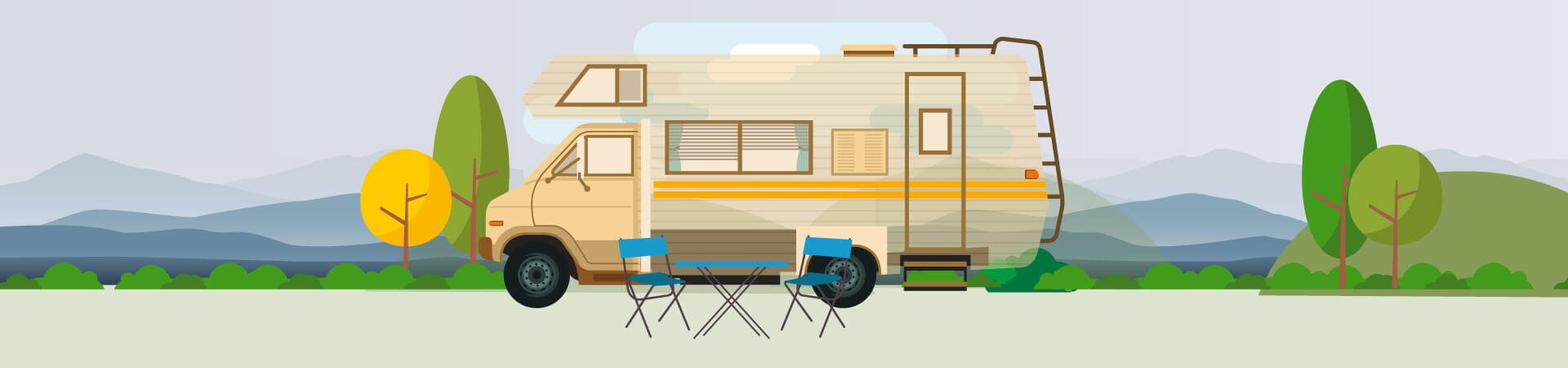 RV Camper Sitting Outside with Locked Doors