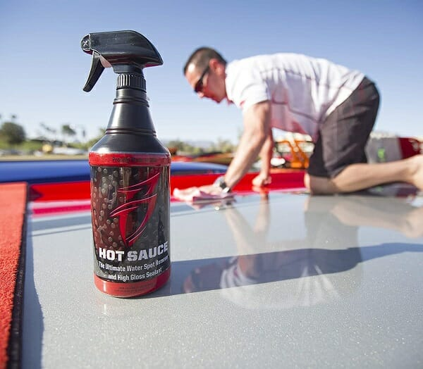 cleaning a boat with a spray solution