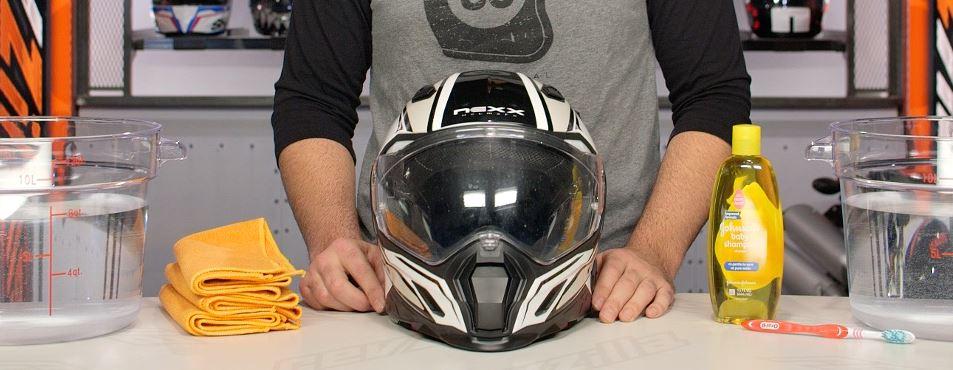 How do I clean my helmet safely