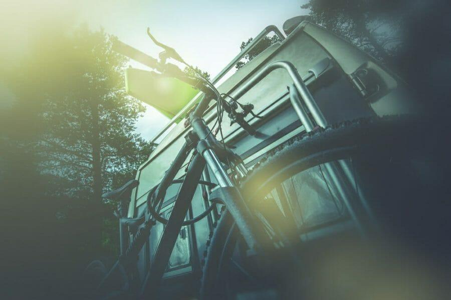 Bike rack on the back of a camper